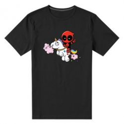 Мужская стрейчевая футболка Deadpool on the unicorn