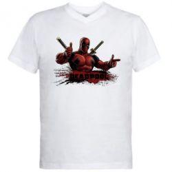 Мужская футболка  с V-образным вырезом Deadpool Paint - FatLine