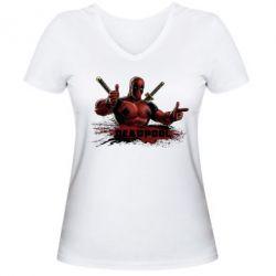 Женская футболка с V-образным вырезом Deadpool Paint - FatLine