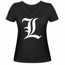 Женская футболка с V-образным вырезом Death Note minimal logo
