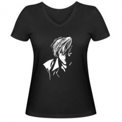 Женская футболка с V-образным вырезом Death Note Тетрадь Смерти - FatLine
