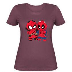 Женская футболка Дэдпул и Человек паук