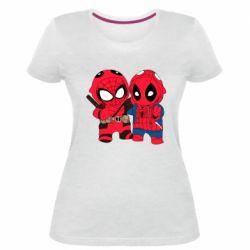 Женская стрейчевая футболка Дэдпул и Человек паук