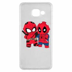 Чехол для Samsung A3 2016 Дэдпул и Человек паук