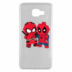 Чехол для Samsung A7 2016 Дэдпул и Человек паук