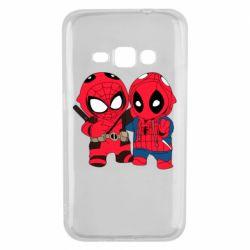 Чехол для Samsung J1 2016 Дэдпул и Человек паук
