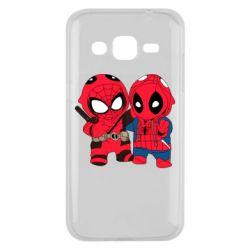 Чехол для Samsung J2 2015 Дэдпул и Человек паук
