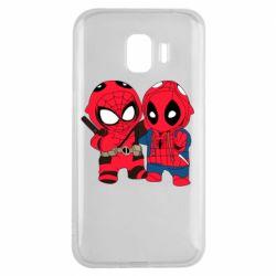 Чехол для Samsung J2 2018 Дэдпул и Человек паук