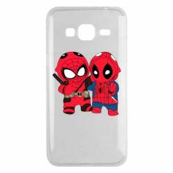 Чехол для Samsung J3 2016 Дэдпул и Человек паук