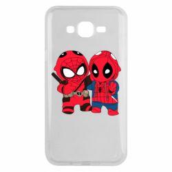 Чехол для Samsung J7 2015 Дэдпул и Человек паук