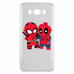 Чехол для Samsung J7 2016 Дэдпул и Человек паук