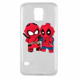 Чехол для Samsung S5 Дэдпул и Человек паук