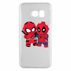 Чехол для Samsung S6 EDGE Дэдпул и Человек паук