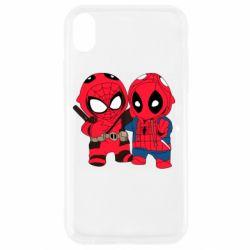Чехол для iPhone XR Дэдпул и Человек паук