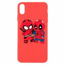 Чехол для iPhone Xs Max Дэдпул и Человек паук
