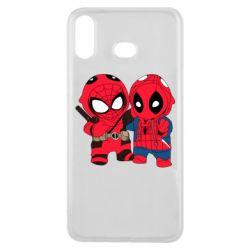 Чехол для Samsung A6s Дэдпул и Человек паук
