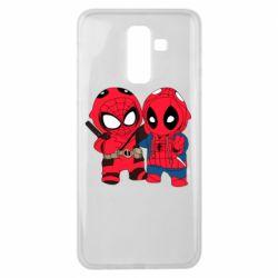 Чехол для Samsung J8 2018 Дэдпул и Человек паук