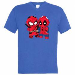 Мужская футболка  с V-образным вырезом Дэдпул и Человек паук