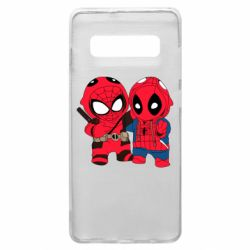 Чехол для Samsung S10+ Дэдпул и Человек паук