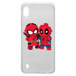 Чехол для Samsung A10 Дэдпул и Человек паук