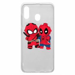 Чехол для Samsung A20 Дэдпул и Человек паук