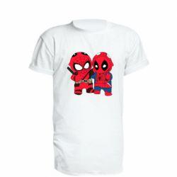 Удлиненная футболка Дэдпул и Человек паук