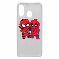 Чехол для Samsung A40 Дэдпул и Человек паук