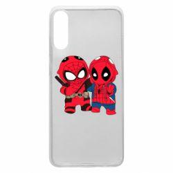 Чехол для Samsung A70 Дэдпул и Человек паук