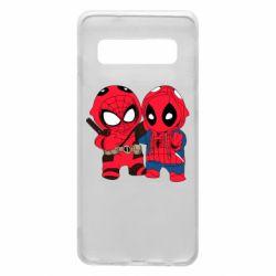 Чехол для Samsung S10 Дэдпул и Человек паук