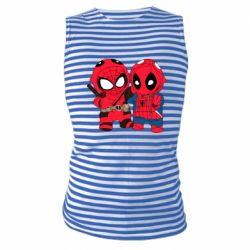 Майка-тельняшка Дэдпул и Человек паук