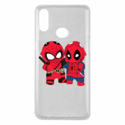 Чехол для Samsung A10s Дэдпул и Человек паук