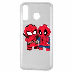 Чехол для Samsung M30 Дэдпул и Человек паук