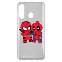 Чехол для Samsung M40 Дэдпул и Человек паук