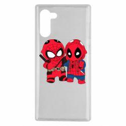 Чехол для Samsung Note 10 Дэдпул и Человек паук