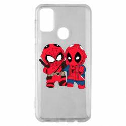 Чехол для Samsung M30s Дэдпул и Человек паук