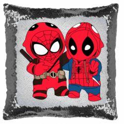 Подушка-хамелеон Дэдпул и Человек паук