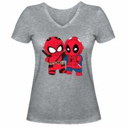 Женская футболка с V-образным вырезом Дэдпул и Человек паук