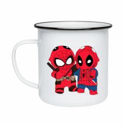 Кружка эмалированная Дэдпул и Человек паук