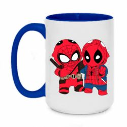Кружка двухцветная 420ml Дэдпул и Человек паук
