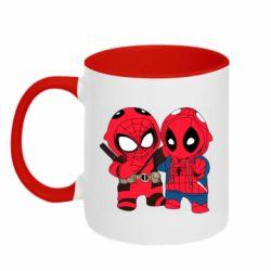 Кружка двухцветная 320ml Дэдпул и Человек паук