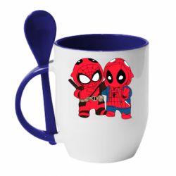 Кружка с керамической ложкой Дэдпул и Человек паук
