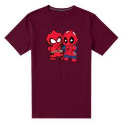 Мужская стрейчевая футболка Дэдпул и Человек паук