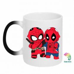 Кружка-хамелеон Дэдпул и Человек паук