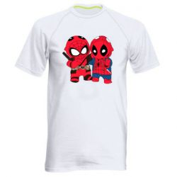 Мужская спортивная футболка Дэдпул и Человек паук
