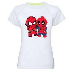 Женская спортивная футболка Дэдпул и Человек паук