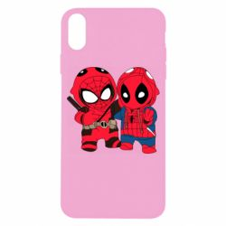 Чехол для iPhone X/Xs Дэдпул и Человек паук