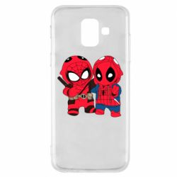 Чехол для Samsung A6 2018 Дэдпул и Человек паук