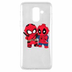 Чехол для Samsung A6+ 2018 Дэдпул и Человек паук