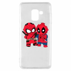 Чехол для Samsung A8 2018 Дэдпул и Человек паук