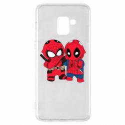 Чехол для Samsung A8+ 2018 Дэдпул и Человек паук